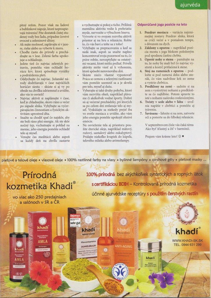 Vitalita 8_2015 - Ajurvédske tipy na leto2
