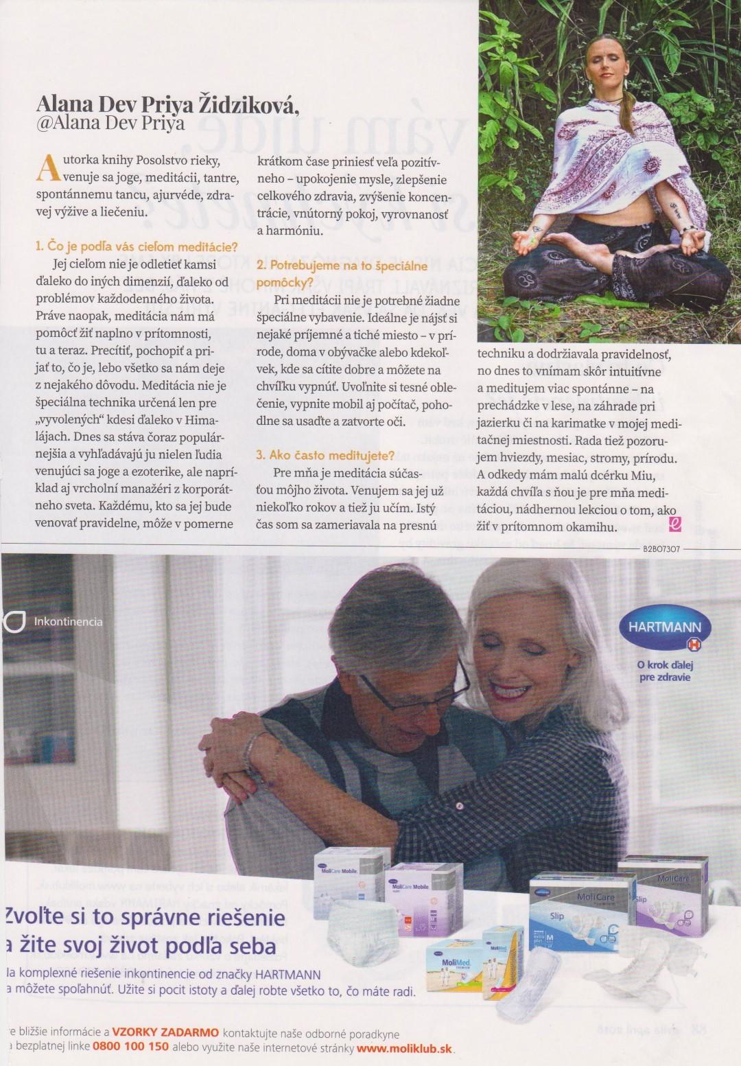 Rozhovor o meditácii pre časopis Evita – apríl 2018